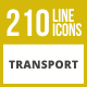 210 Transport Line Inverted Icons - GraphicRiver Item for Sale