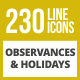 230 Observances & Holiday Line Inverted Icons - GraphicRiver Item for Sale