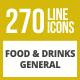 270 Food & Drinks General Line Inverted Icons - GraphicRiver Item for Sale