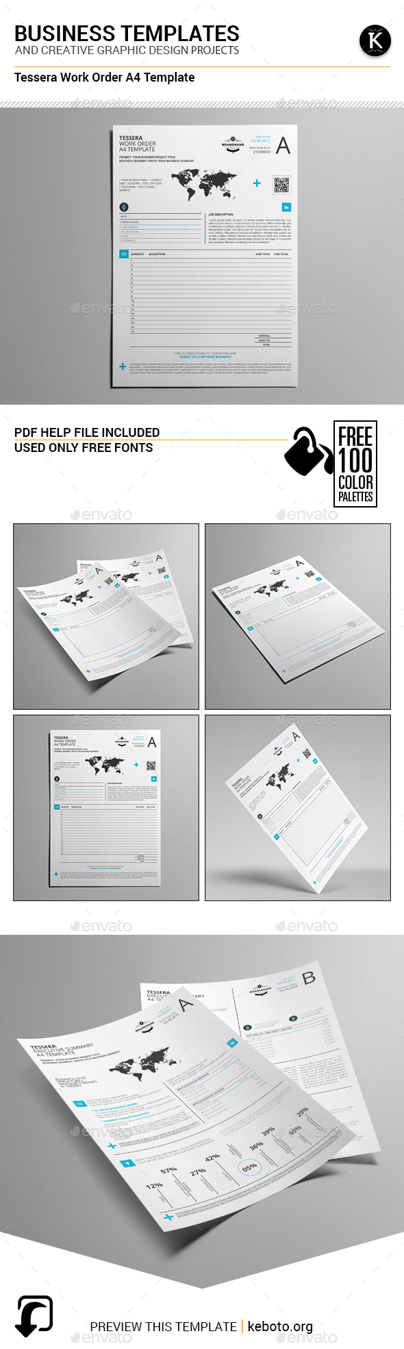 Tessera Work Order A4 Template - Miscellaneous Print Templates
