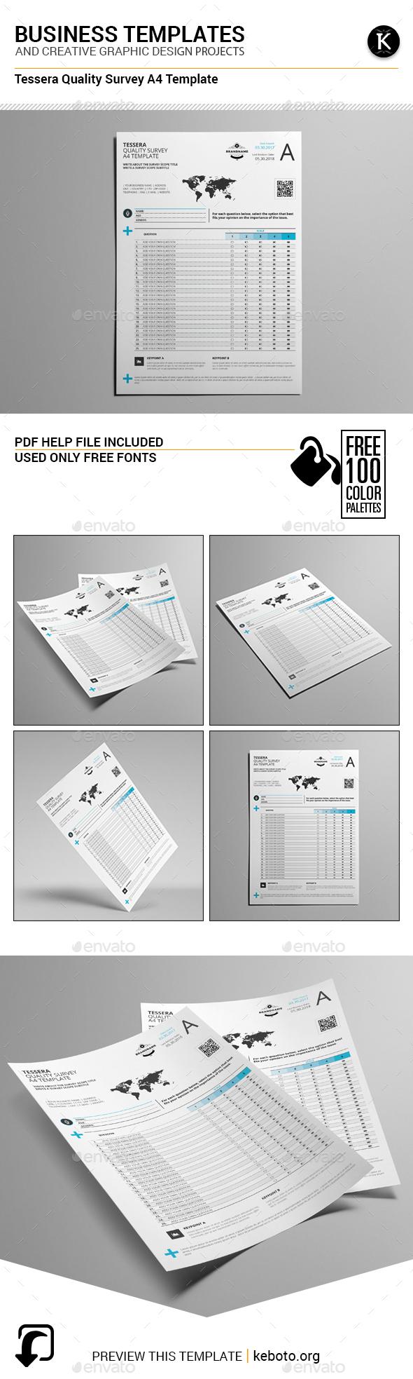 Tessera Quality Survey A4 Template - Miscellaneous Print Templates