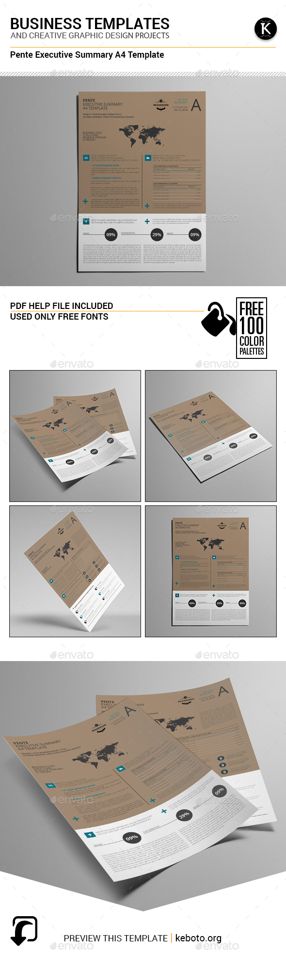 Pente Executive Summary A4 Template - Miscellaneous Print Templates