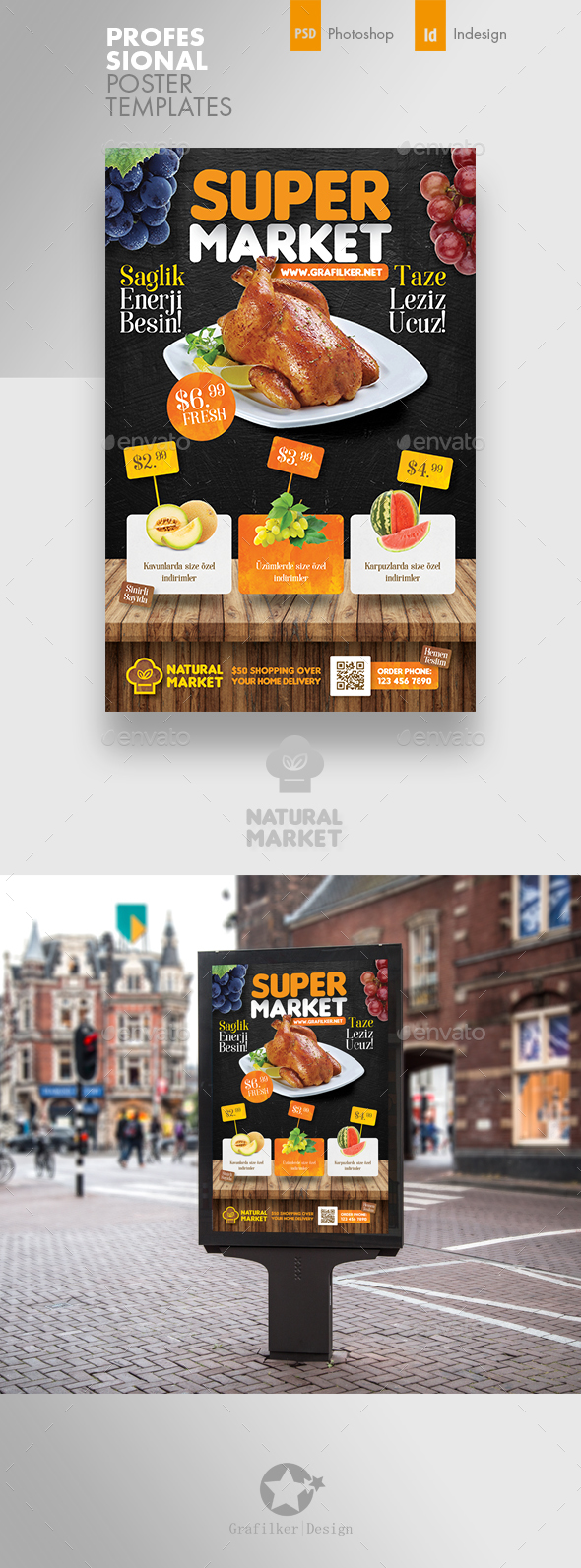 Supermarket Promotion Poster Templates - Signage Print Templates