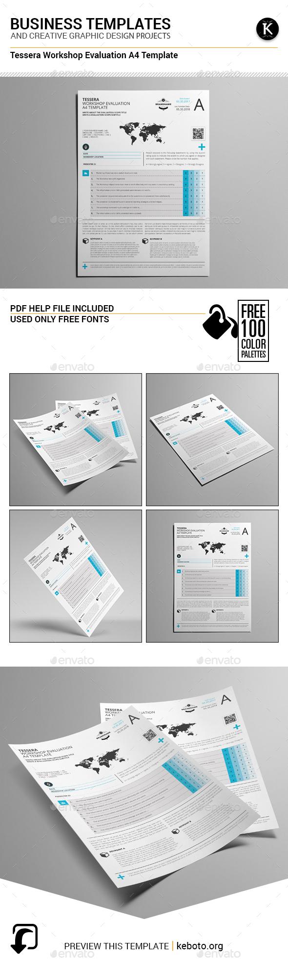 Tessera Workshop Evaluation A4 Template - Miscellaneous Print Templates