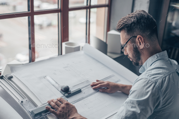 Working architect in the studio - Stock Photo - Images