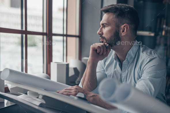 Mature engineer indoors - Stock Photo - Images