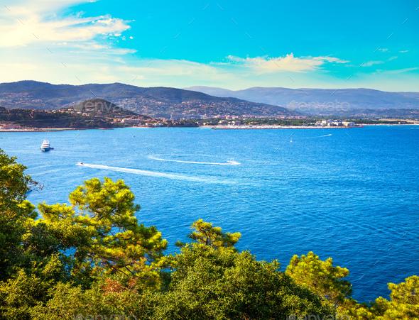 Cannes La Napoule bay view. French Riviera, Azure Coast, Provenc - Stock Photo - Images