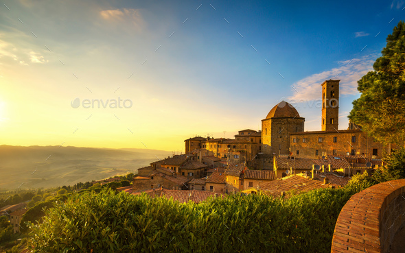Tuscany, Volterra town skyline, church and panorama view on suns - Stock Photo - Images