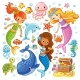 Vector Set with Animals and Mermaids