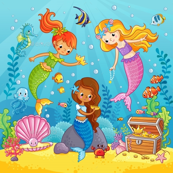 Mermaids Play Under the Water - Animals Characters