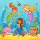 Mermaids Play Under the Water - GraphicRiver Item for Sale