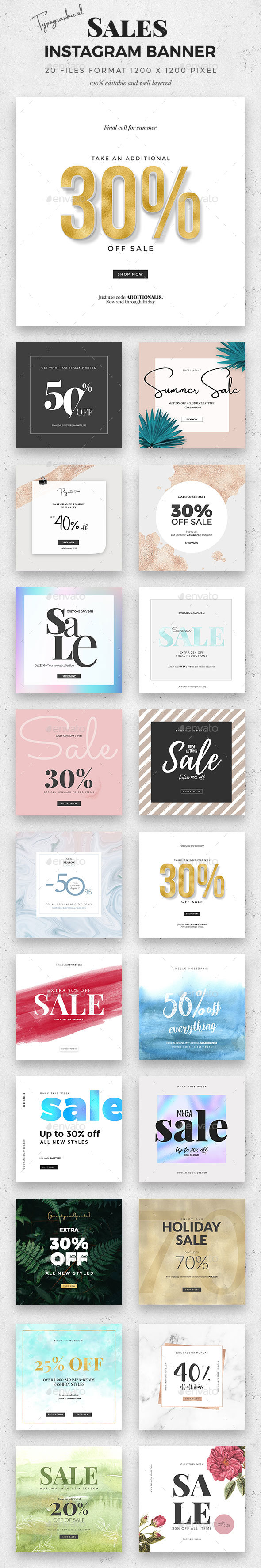 20 Typographical Sale Instagram Banner - Social Media Web Elements