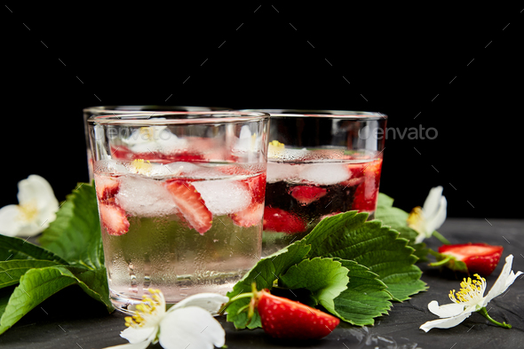 Strawberry detox water with jasmine flower. - Stock Photo - Images