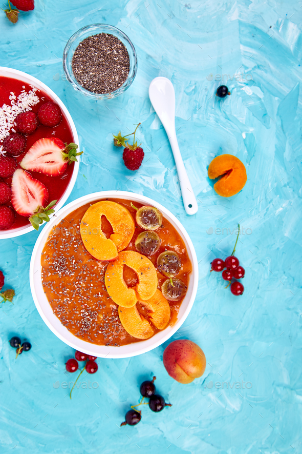 Smoothie bowls. Healthy breakfast bowl - Stock Photo - Images
