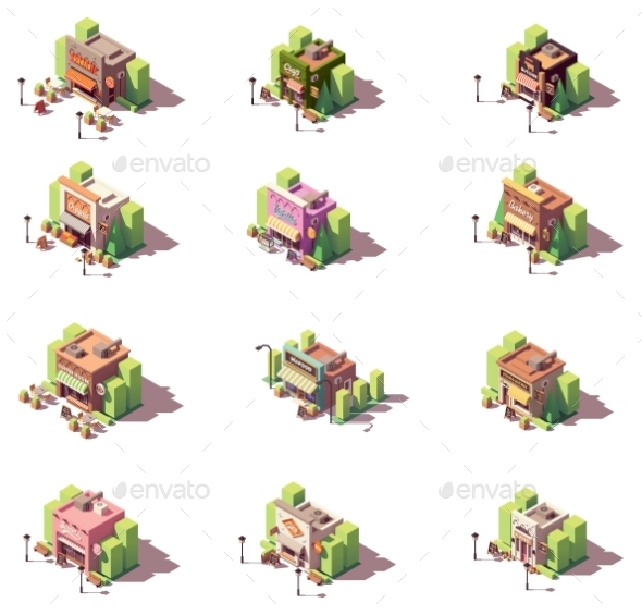 Vector Isometric Shops Icon Set - Buildings Objects