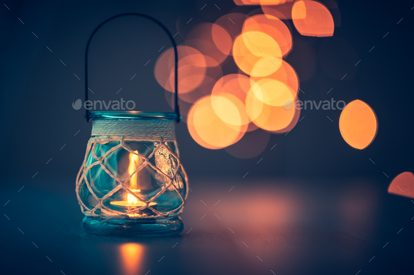Romantic candlelight atmosphere - Stock Photo - Images