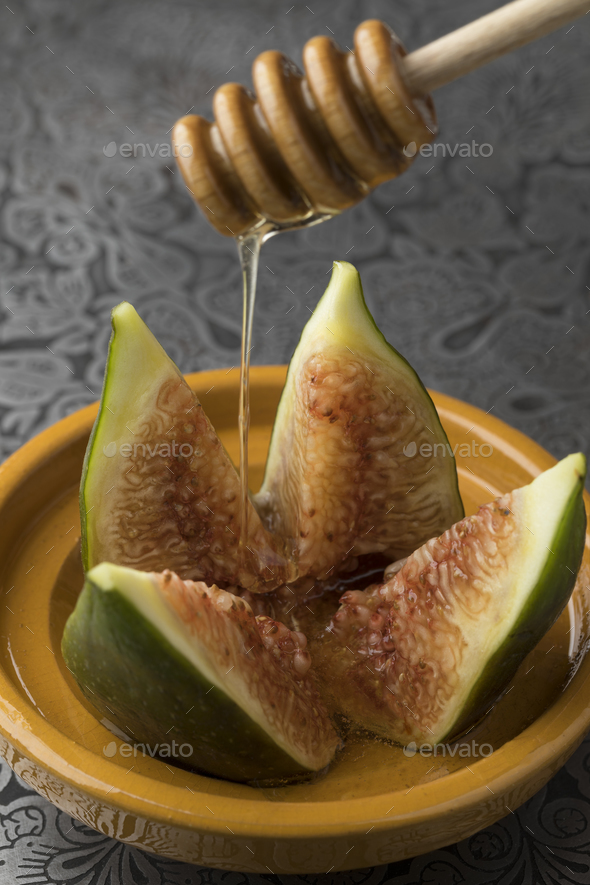 Fresh ripe fig with honey - Stock Photo - Images