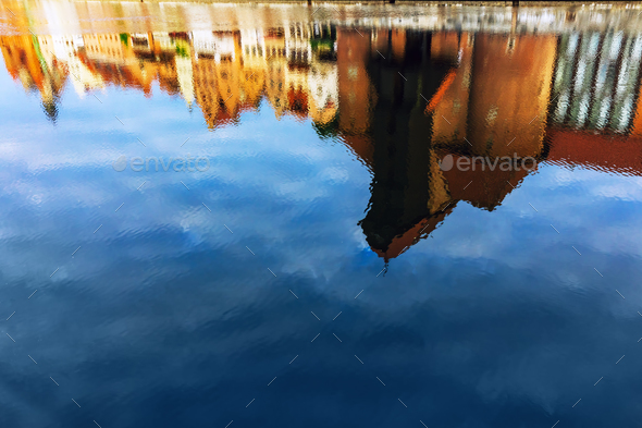 Reflection of historical Zuraw crane in Motlawa river in Gdansk - Stock Photo - Images