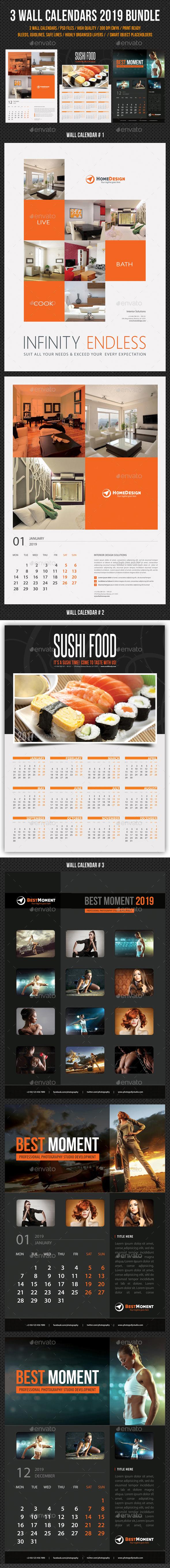 Wall Calendars 2019 Bundle V06 - Calendars Stationery