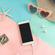 Women's accessories items with smart phone on pastel colors background, Summer vacation concept - PhotoDune Item for Sale