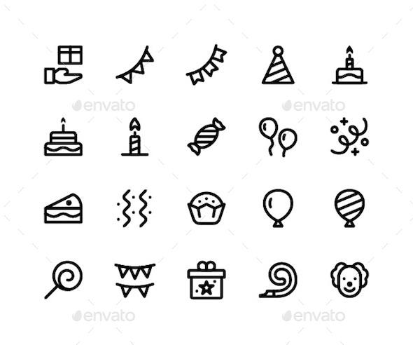 Birthday Line Icons - Icons