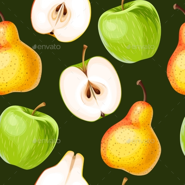 Seamless Apple and Pear - Food Objects