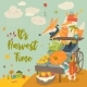 Foxes with Wheelbarrow and Fruits - GraphicRiver Item for Sale