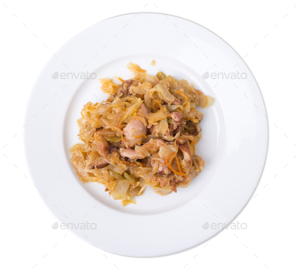 Chicken cabbage stir-fry. - Stock Photo - Images