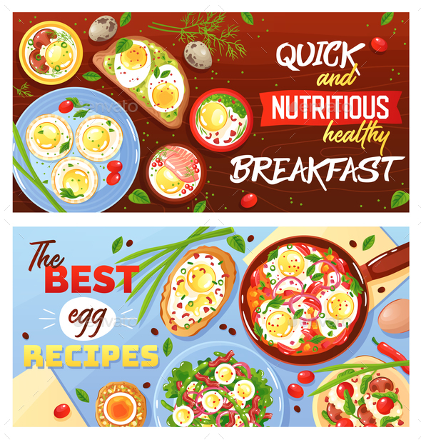 Egg Dishes Horizontal Banners - Food Objects