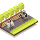 Horse Riding Isometric Composition