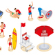 Beach Lifeguards Isometric Icons - GraphicRiver Item for Sale