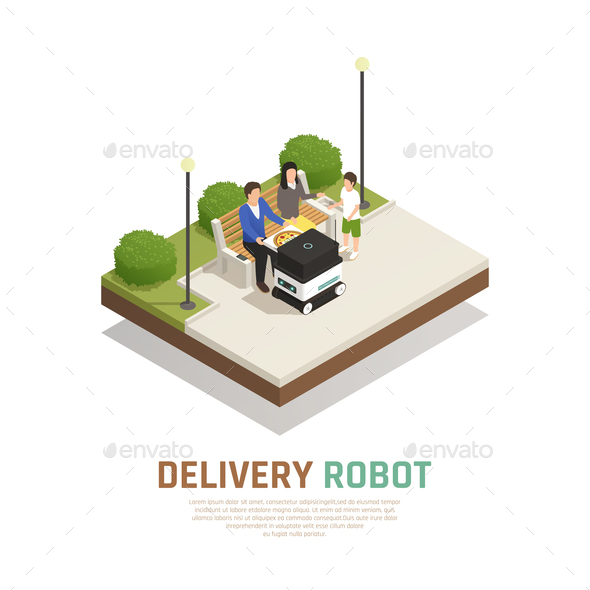 Delivery Robotic Transport Isometric Composition - People Characters