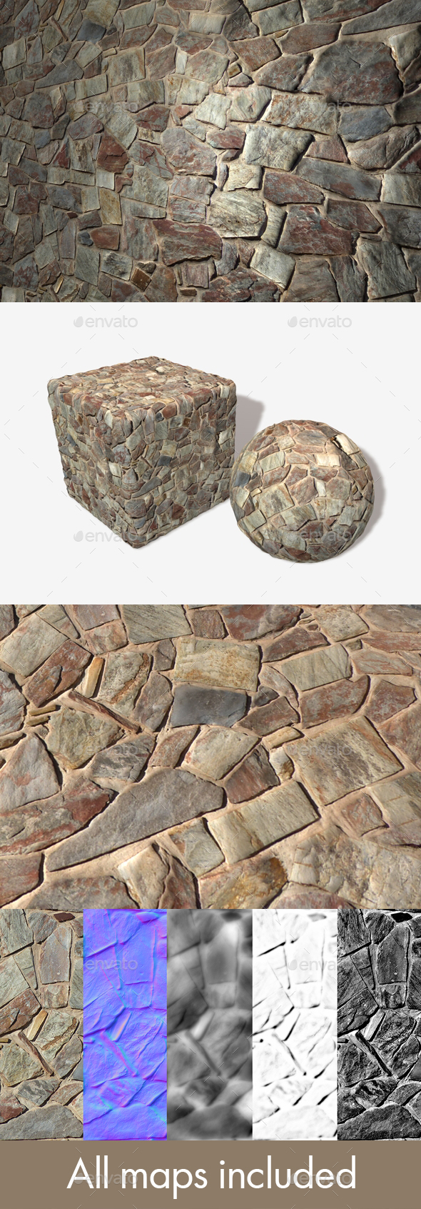 Desert Stone Wall Seamless Texture - 3DOcean Item for Sale