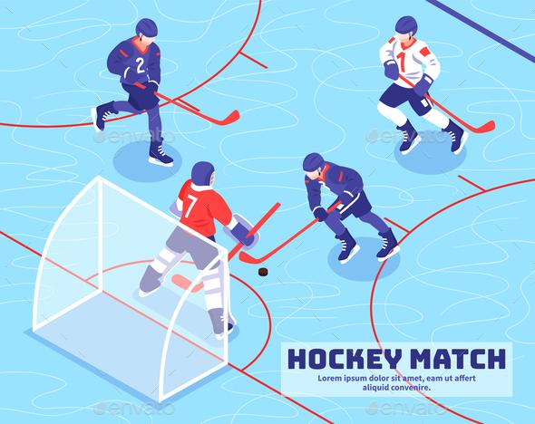 Hockey Match Isometric Illustration - Sports/Activity Conceptual