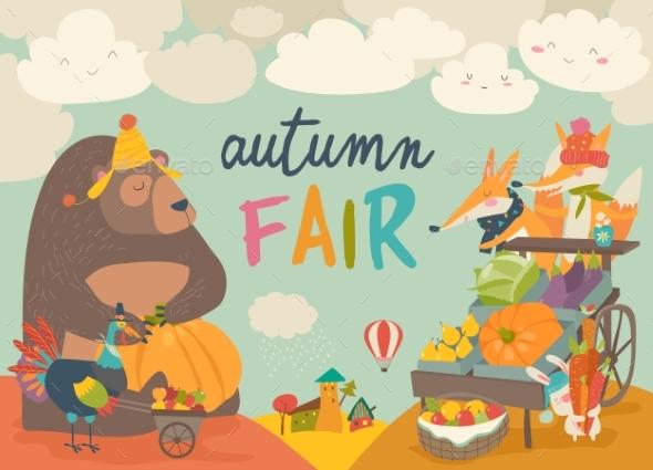 Animals on Autumn Fair - Animals Characters