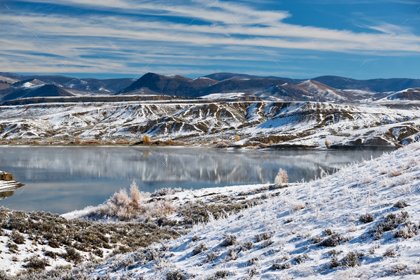 Winter landscape with Wolford Mountain Reservoir - Stock Photo - Images