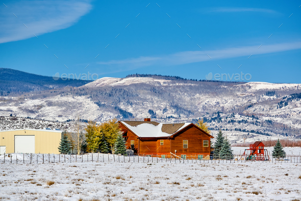 Season changing, first snow on roof. - Stock Photo - Images