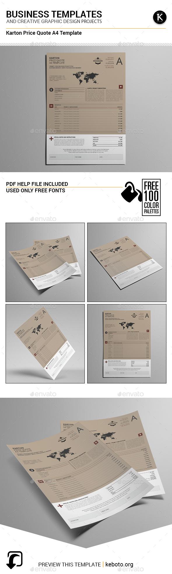 Karton Price Quote A4 Template - Miscellaneous Print Templates