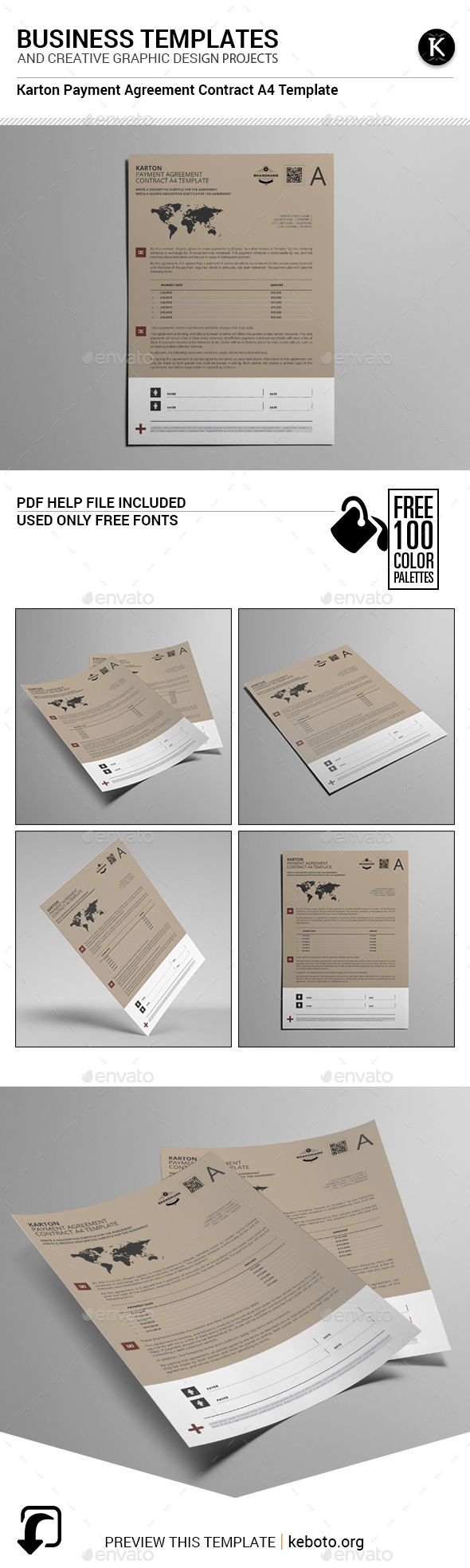 Karton Payment Agreement Contract A4 Template - Miscellaneous Print Templates