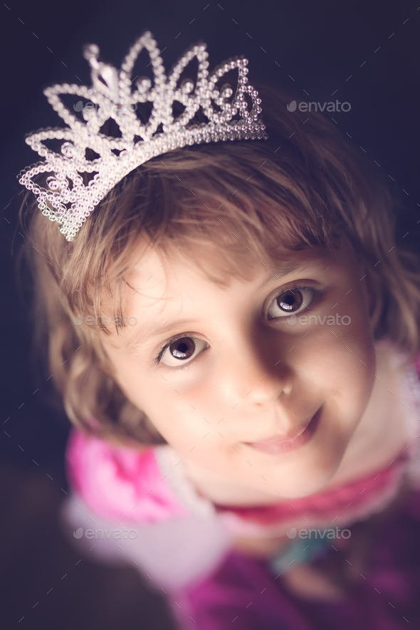 Cute little princess with a crown - Stock Photo - Images