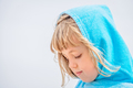 Girl with head covered in a blue towel - PhotoDune Item for Sale