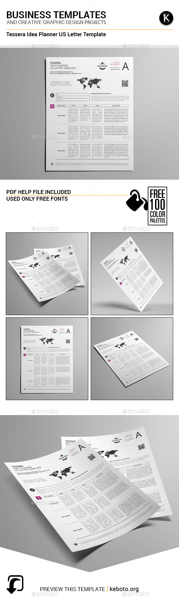 Tessera Idea Planner US Letter Template - Miscellaneous Print Templates