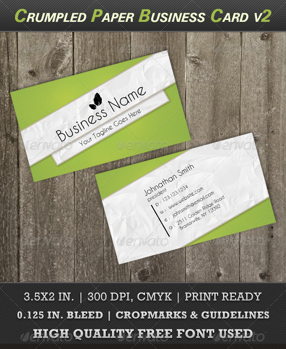 Crumpled Paper Business Card V2 - Corporate Business Cards