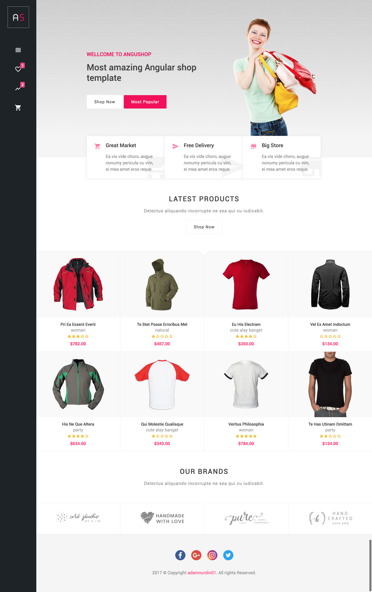 Angushop - Angular 8 Shop Template Material Design