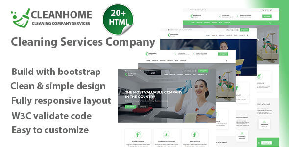 Cleanhome – Cleaning Services HTML Template - Retail Site Templates