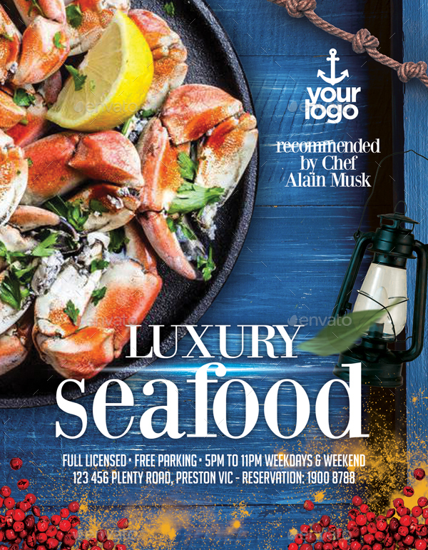 Seafood Restaurant - Set of 3 Flyer Templates