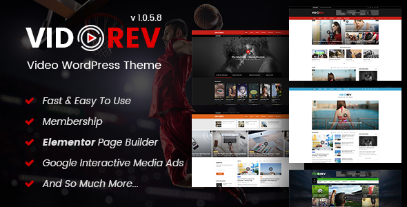 VidoRev - Video WordPress Theme - Blog / Magazine WordPress