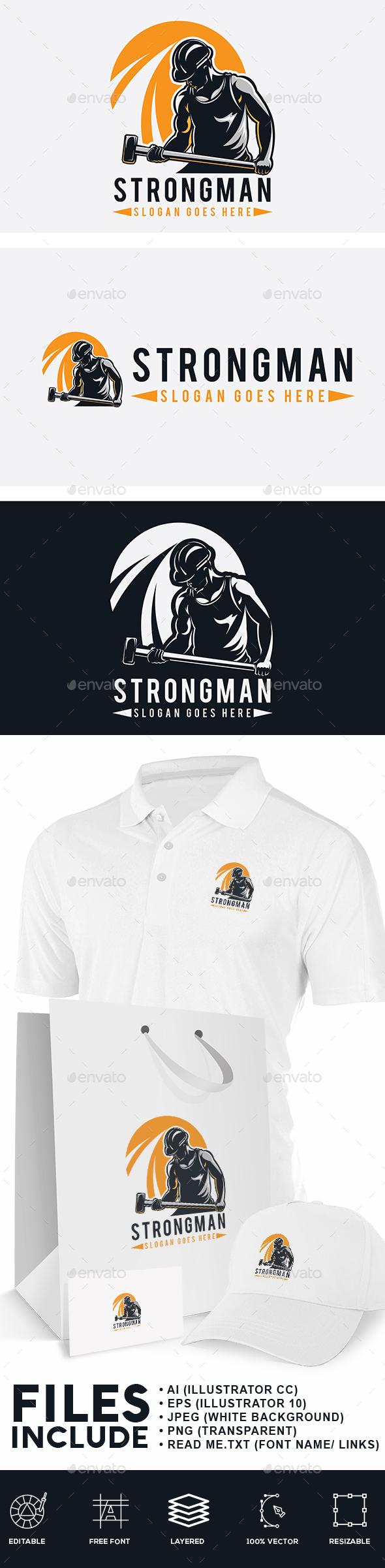 Strong Man Logo - Humans Logo Templates