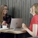 Two Young Business Women Are Sitting in Cafe with a Laptop. at a Business Meeting the Girls in - VideoHive Item for Sale