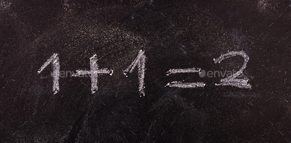 simple equation 1+1=2 isolated, on blackboard background. - Stock Photo - Images